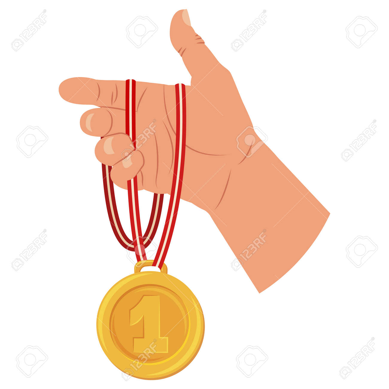 Gold medal of winner in hand. Vector cartoon flat icon isolated on white background. - 170610694