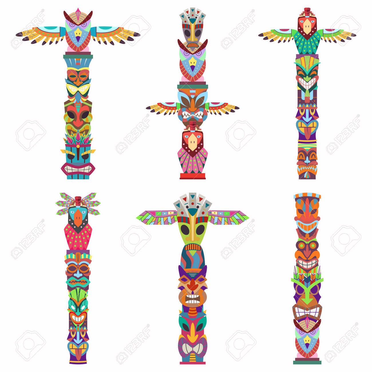 Traditional totem pole with tiki mask and eagle. Vector cartoon flat icons set isolated on white background. - 170610834