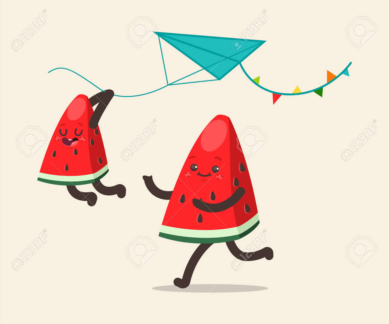 Watermelons fly a kite. Father and son fruit spend together rest. Vector cartoon funny characters isolated on background. - 175050363