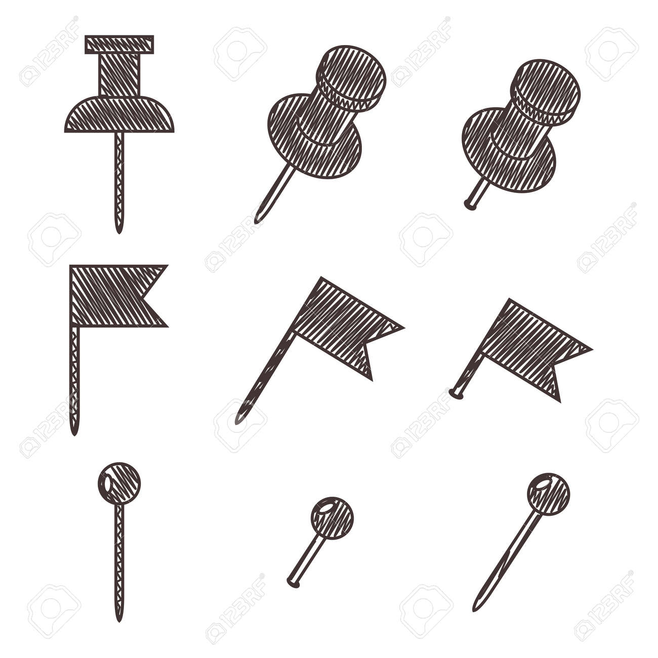 Push pin for map. Vector sketch set of office thumbtacks isolated on a white background. - 170512795