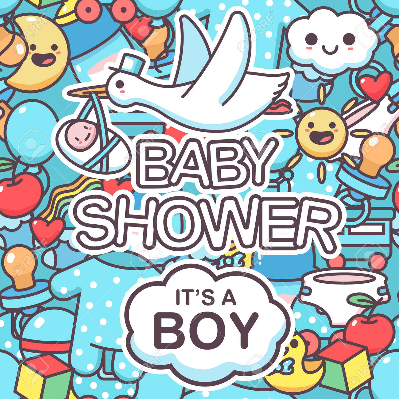 It's a boy vector seamless pattern with doodle elements. Baby shower cartoon background. - 170610852