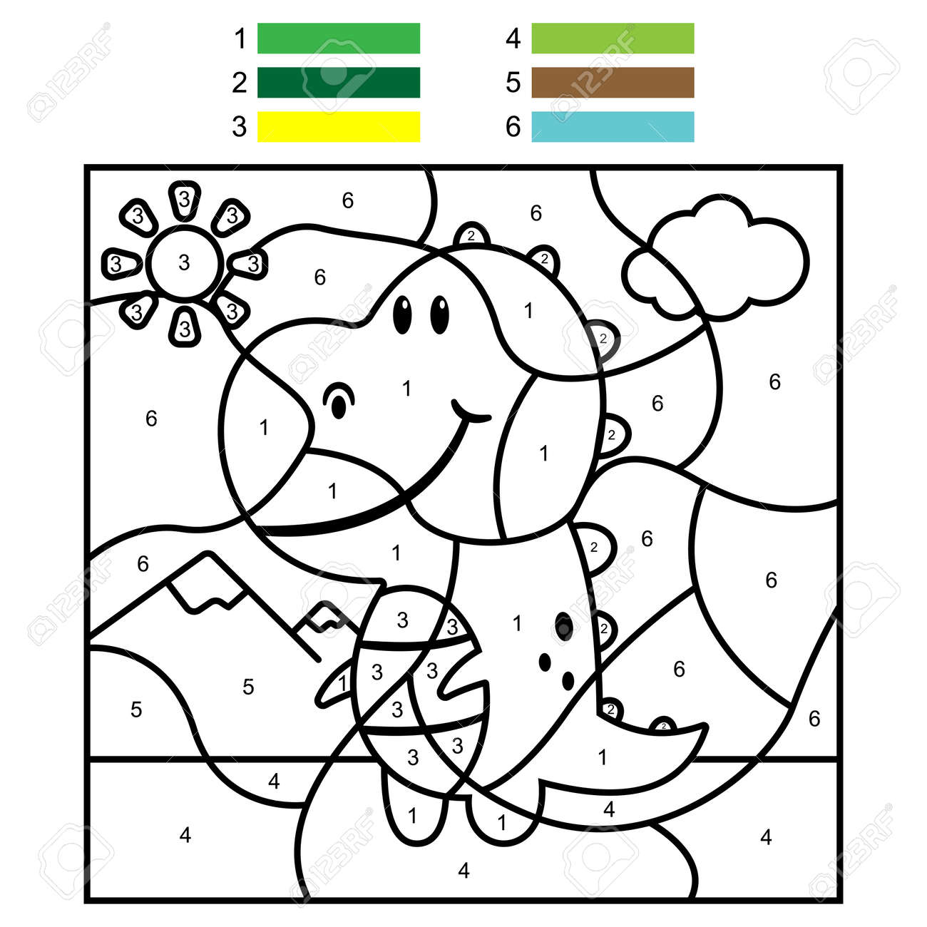 Coloring by numbers with cute dinosaur. Vector cartoon illustration for kids. - 170502727