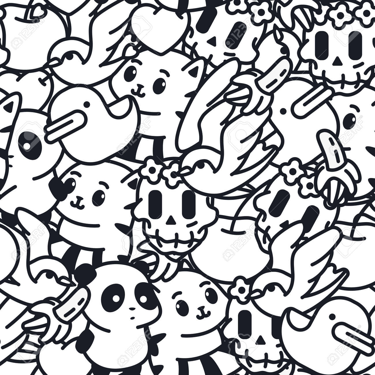 Doodle vector seamless pattern with duck, banana, cat, panda, sugar skull and swallow. Background for wallpaper, wrapping, packing and backdrop. - 170502728