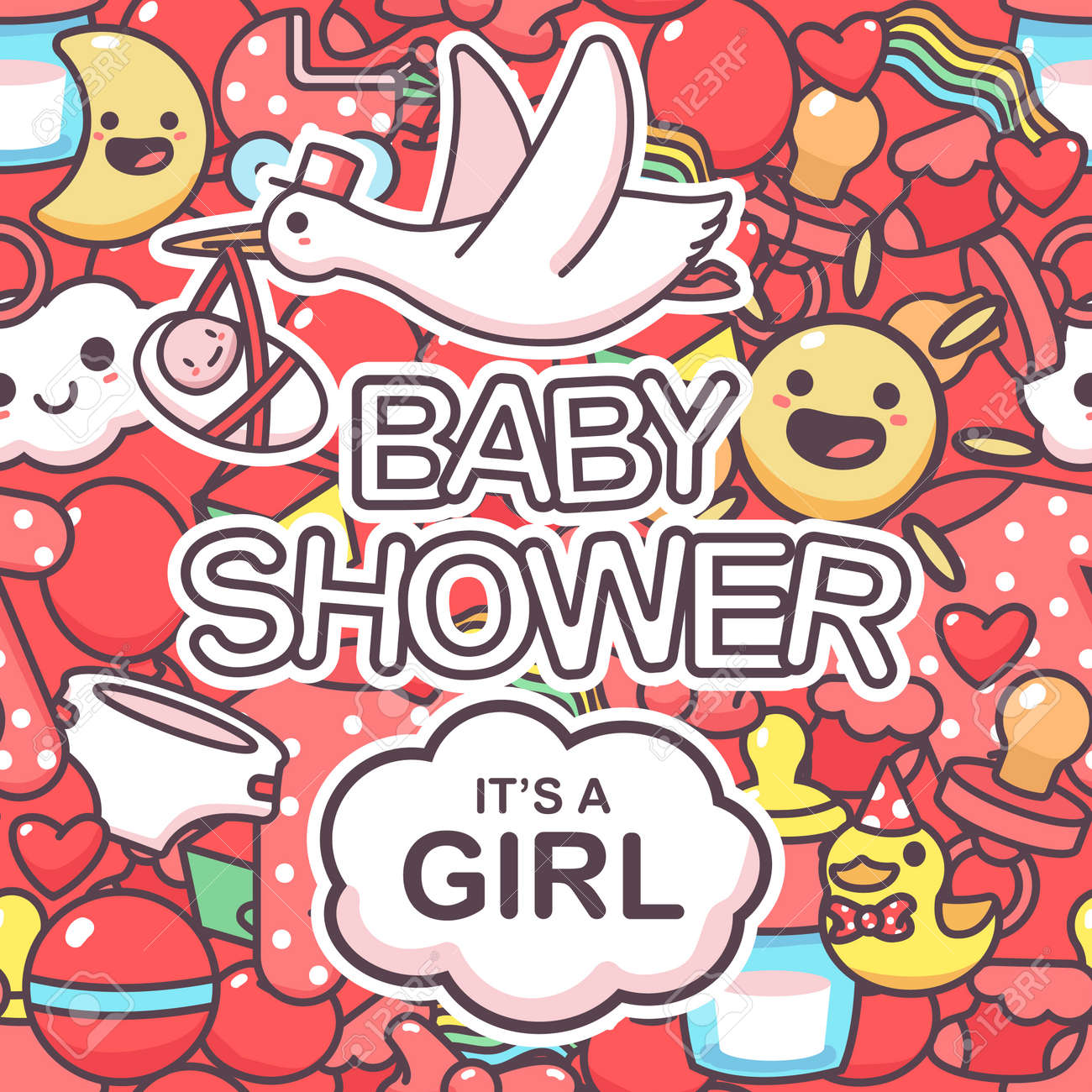 It's a girl vector seamless pattern with doodle elements. Baby shower cartoon background. - 175050364