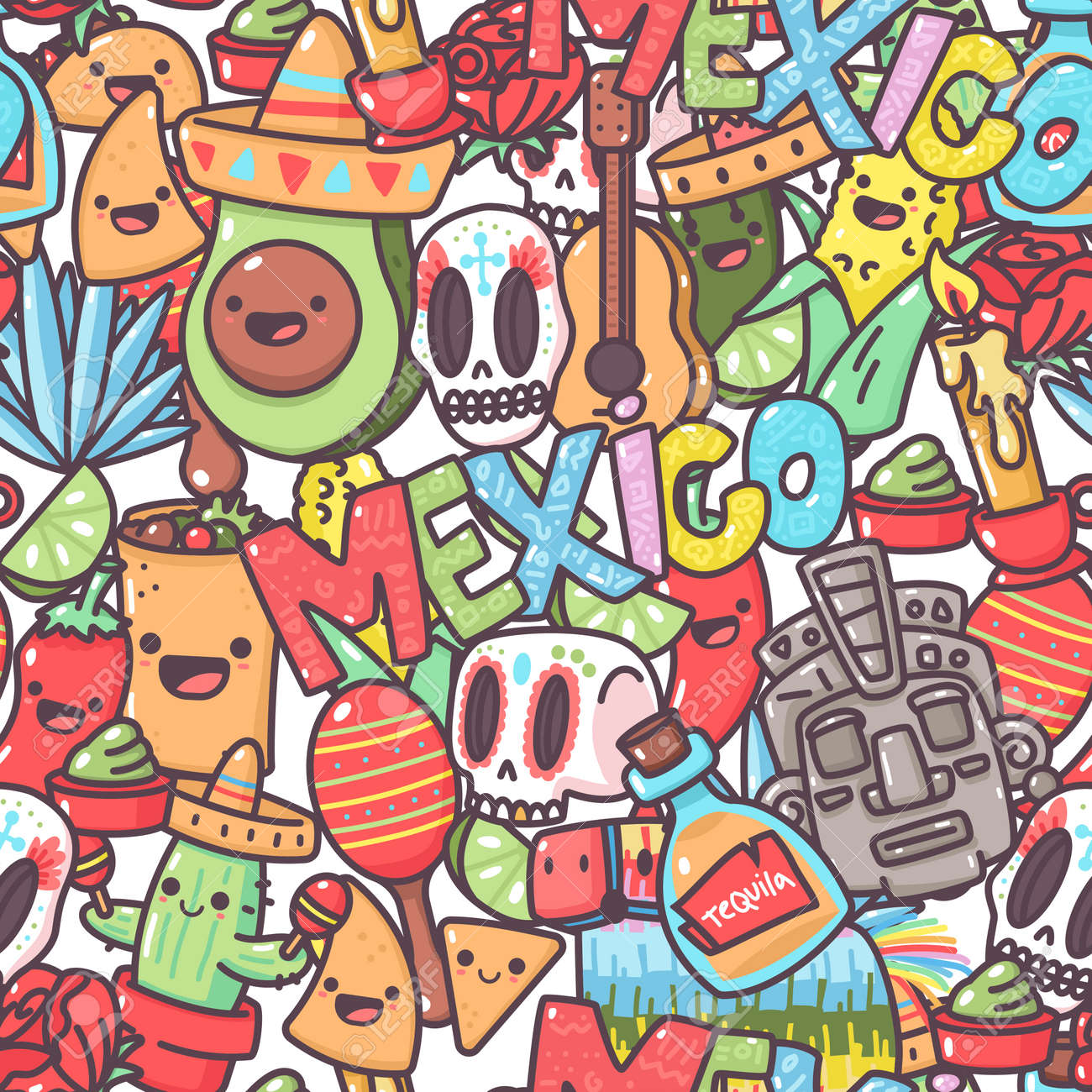 Mexican vector seamless pattern with cartoon doodle elements. Background for wallpaper, wrapping, packing and backdrop. - 175050365
