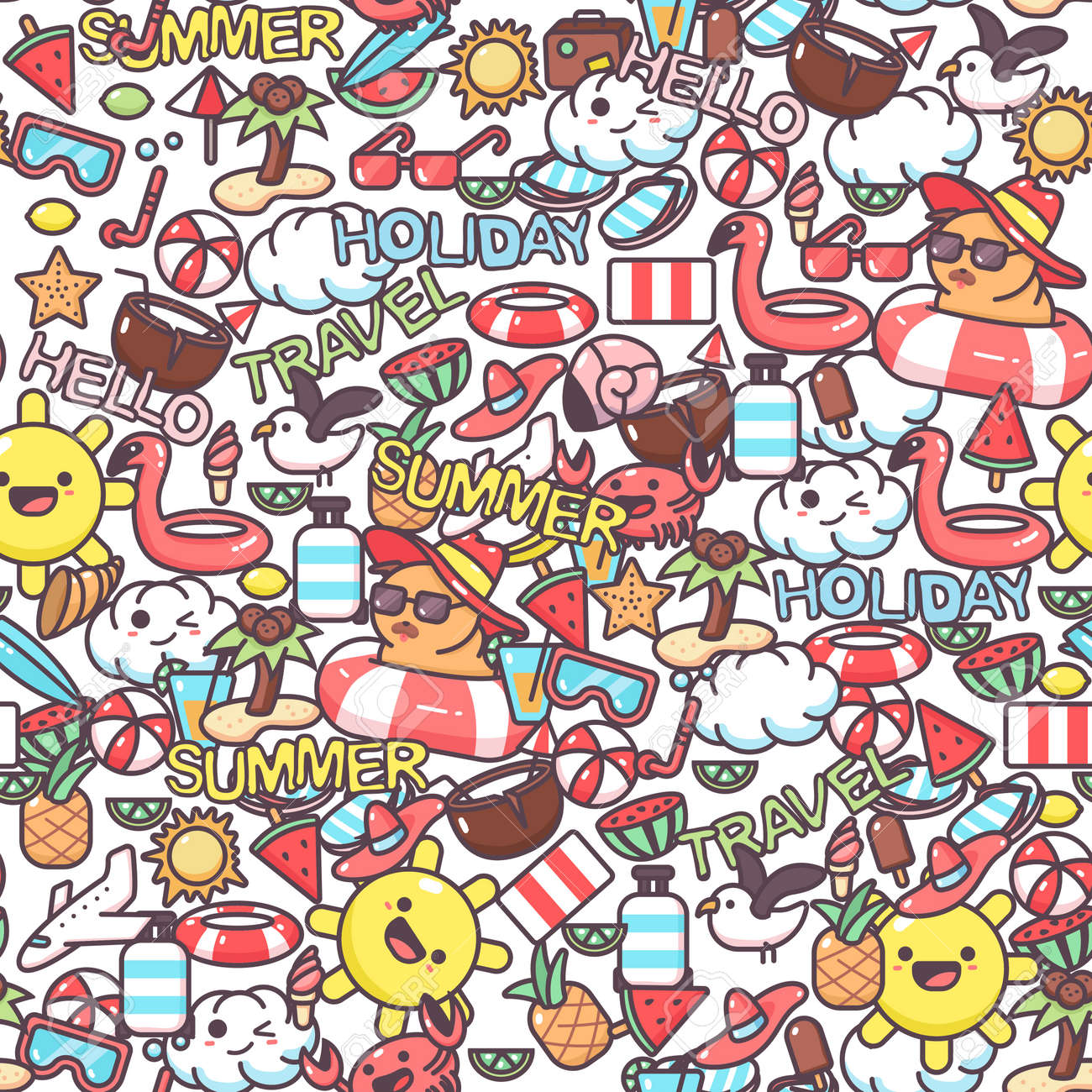Summer vector seamless pattern with cartoon doodle elements. Background for wallpaper, wrapping, packing and backdrop. - 170502729