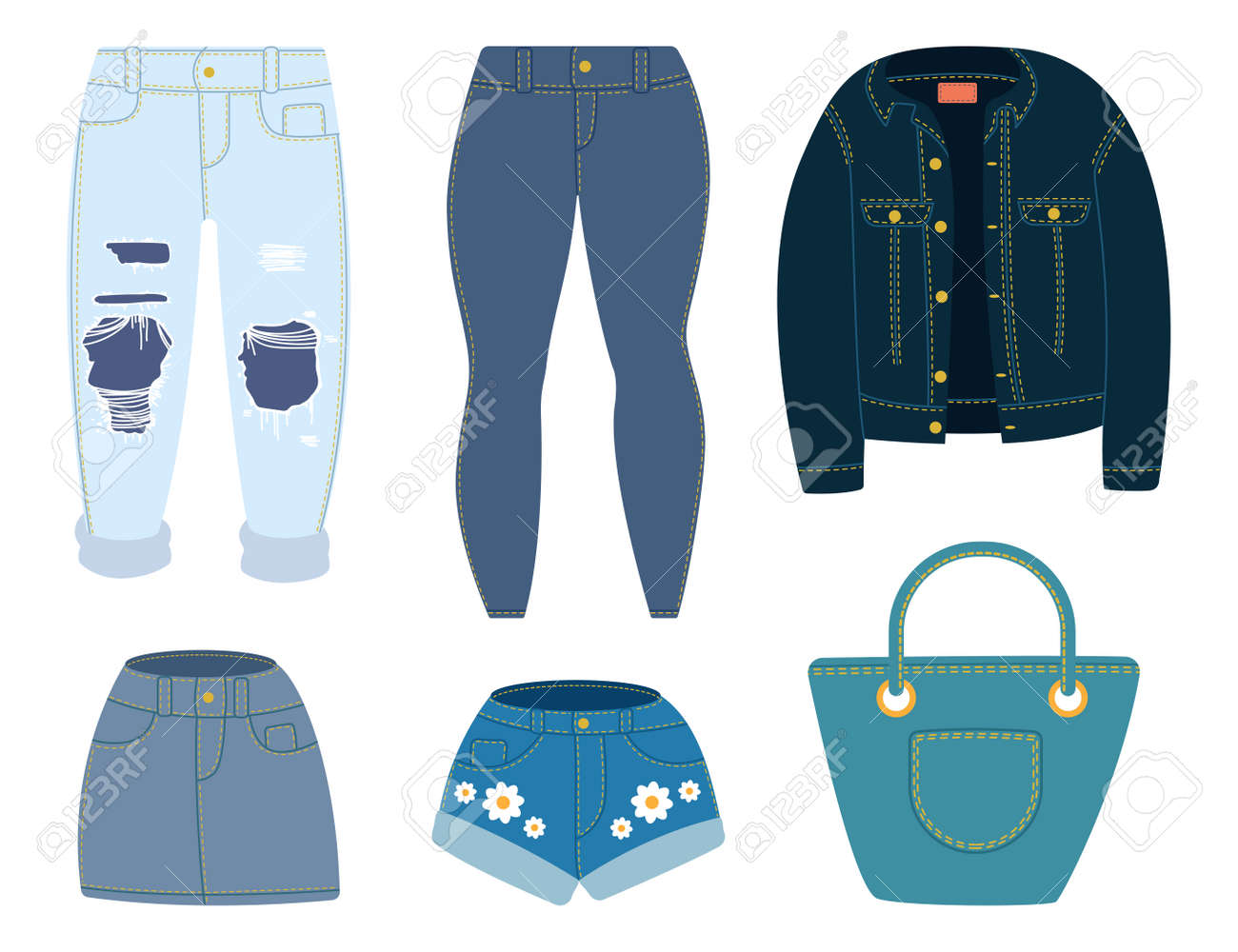 Jeans, jacket, shorts, skirt and bag. Vector cartoon denim clothes set isolated on white background. - 170502730