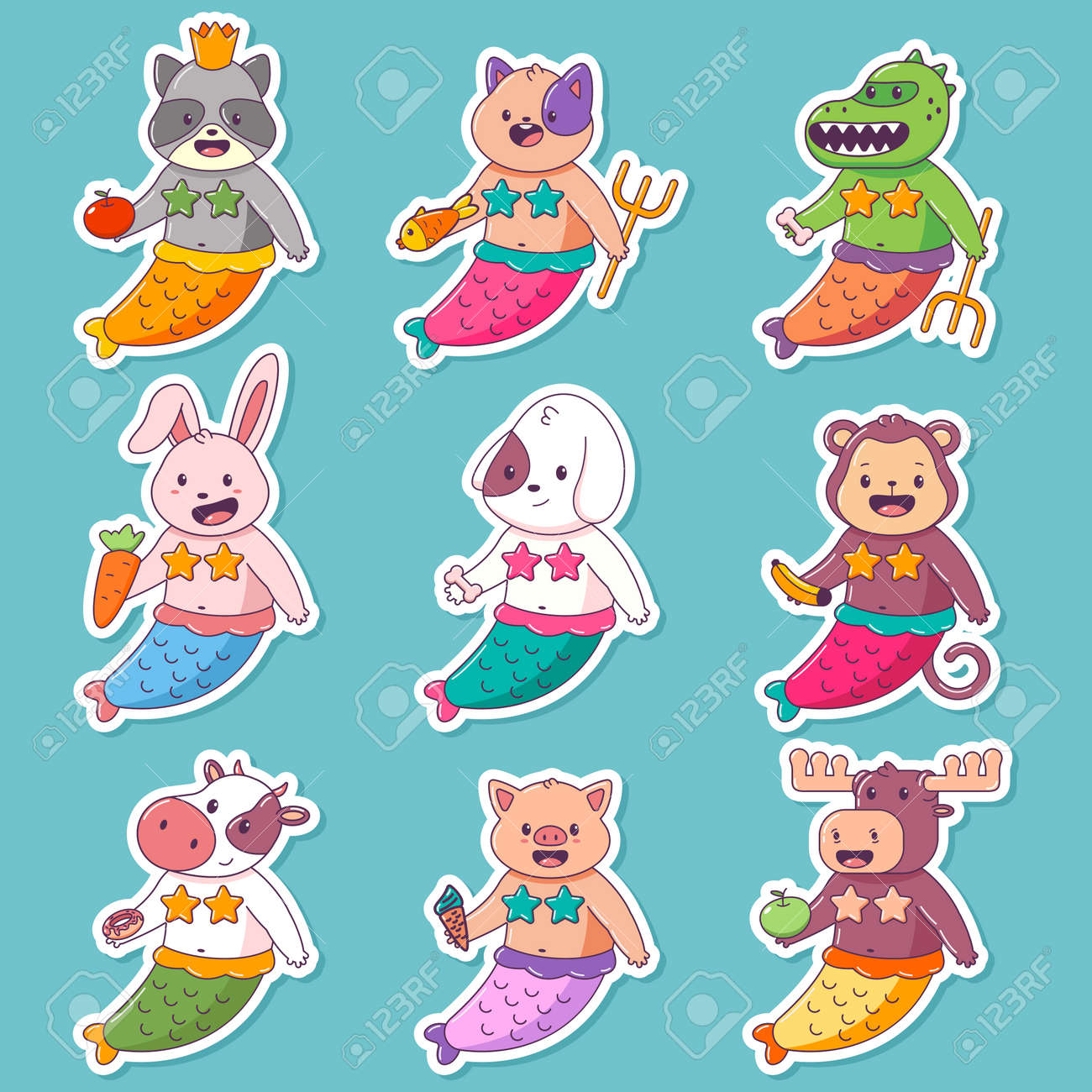 Cute mermaid child animal vector cartoon character set isolated on a white background. - 170637471