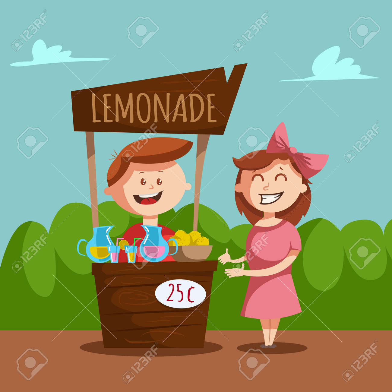 Lemonade stand with a pitcher and glass jar with lemon juice. Vector cartoon illustration of a boy and a girl selling a chilled pink and yellow drink. - 170637075