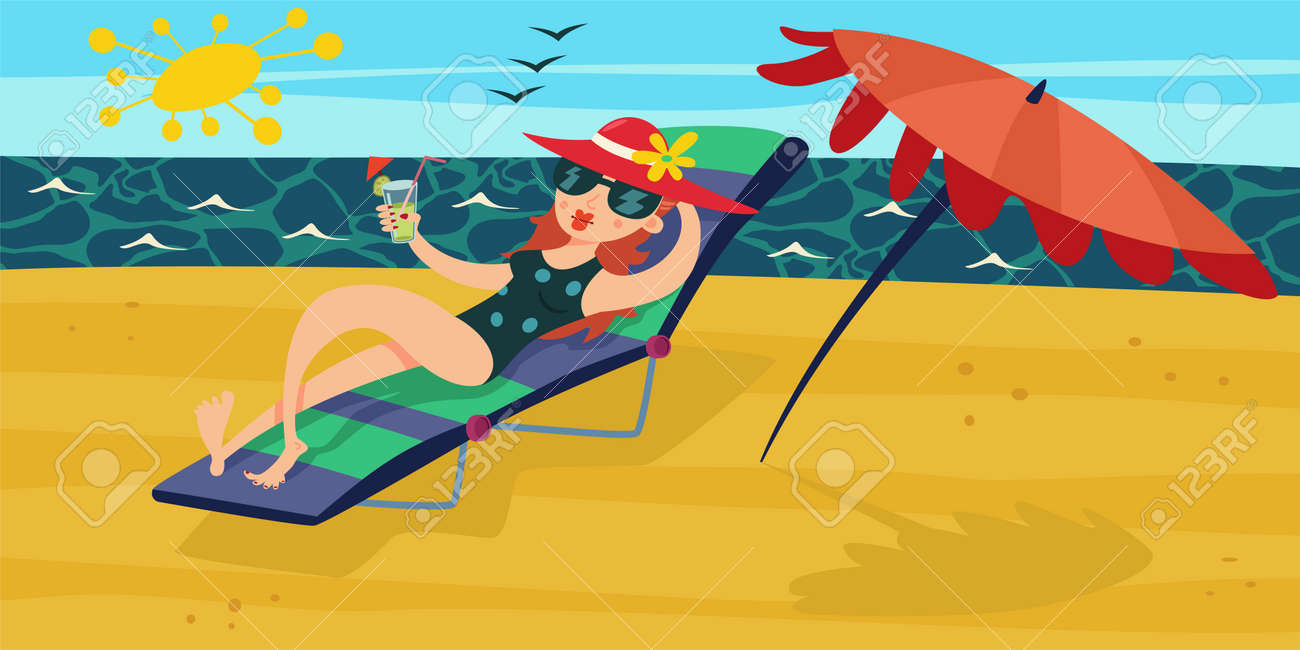 Summer beach. Vacation at the sea. Girl with cocktail in her hand, which relax on a deckchair wiht a sun umbrella. Vector cartoon illustration. - 170855142