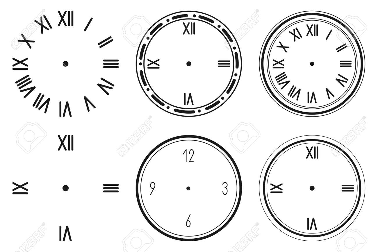 Clock face vector silhouette set isolated on a white background. - 170637384