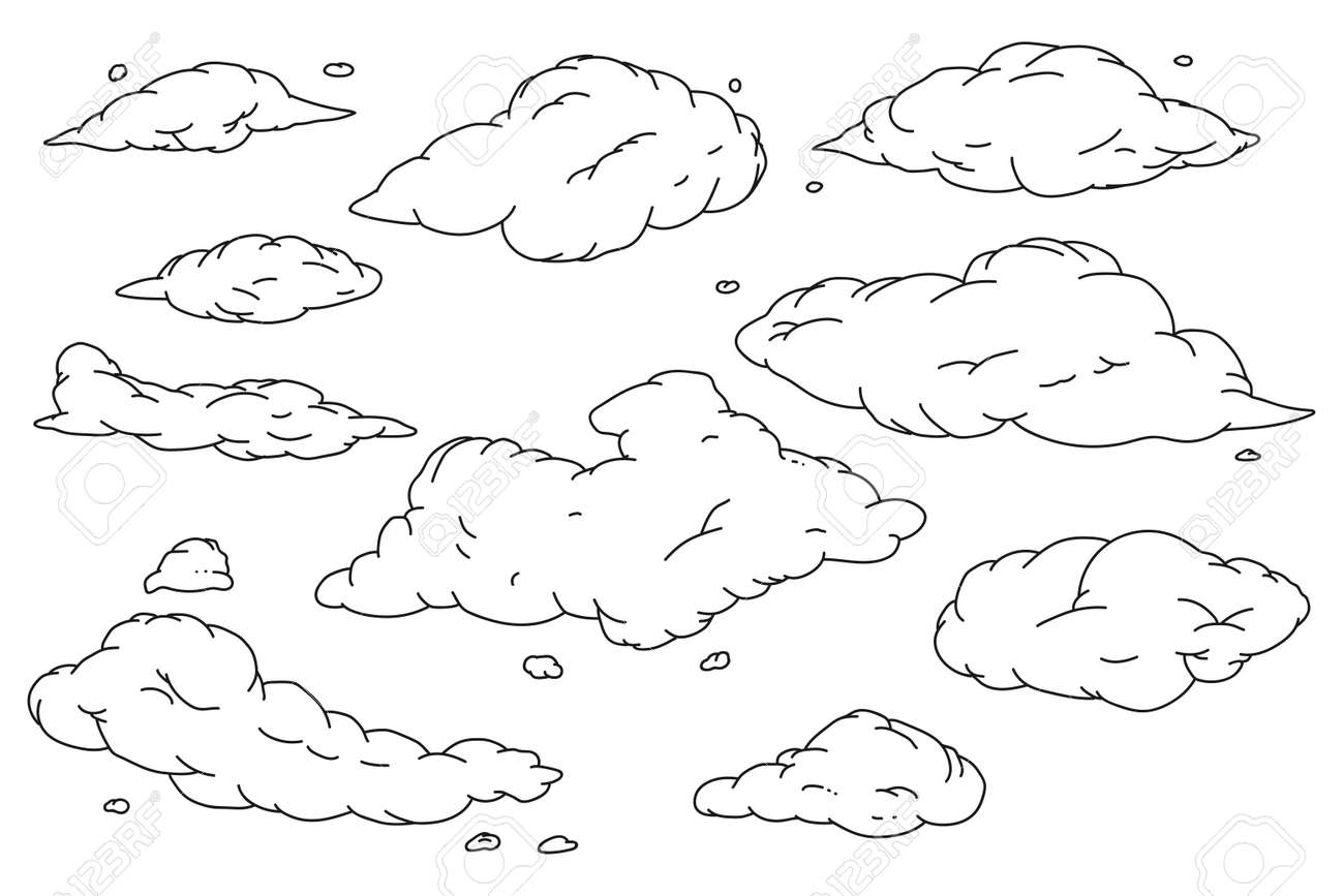 Cloud hand drawn doodle sketch vector set isolated on a white background. - 170637763