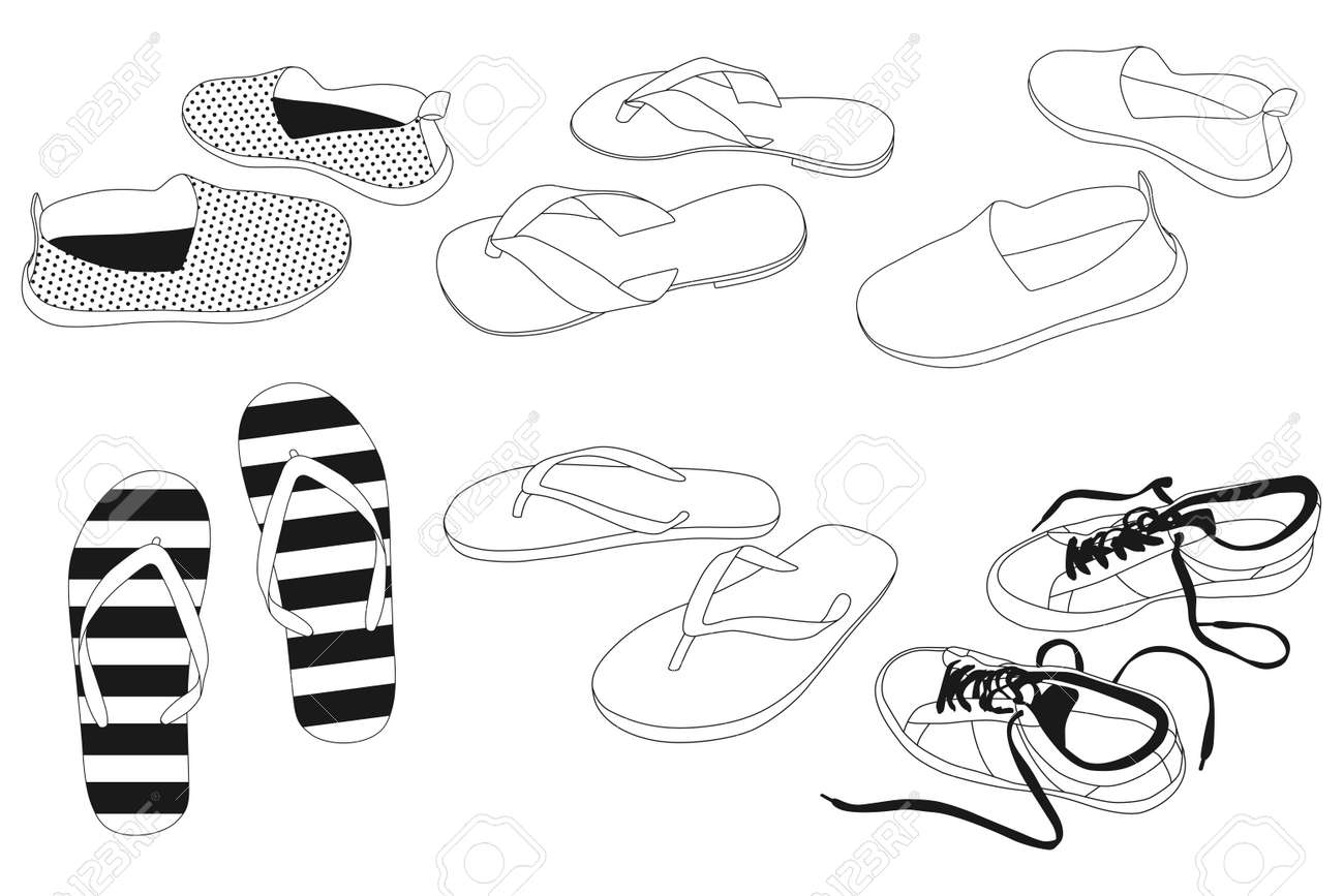 Men's and women's summer shoes vector outline icons set isolated on a white background. - 170637600