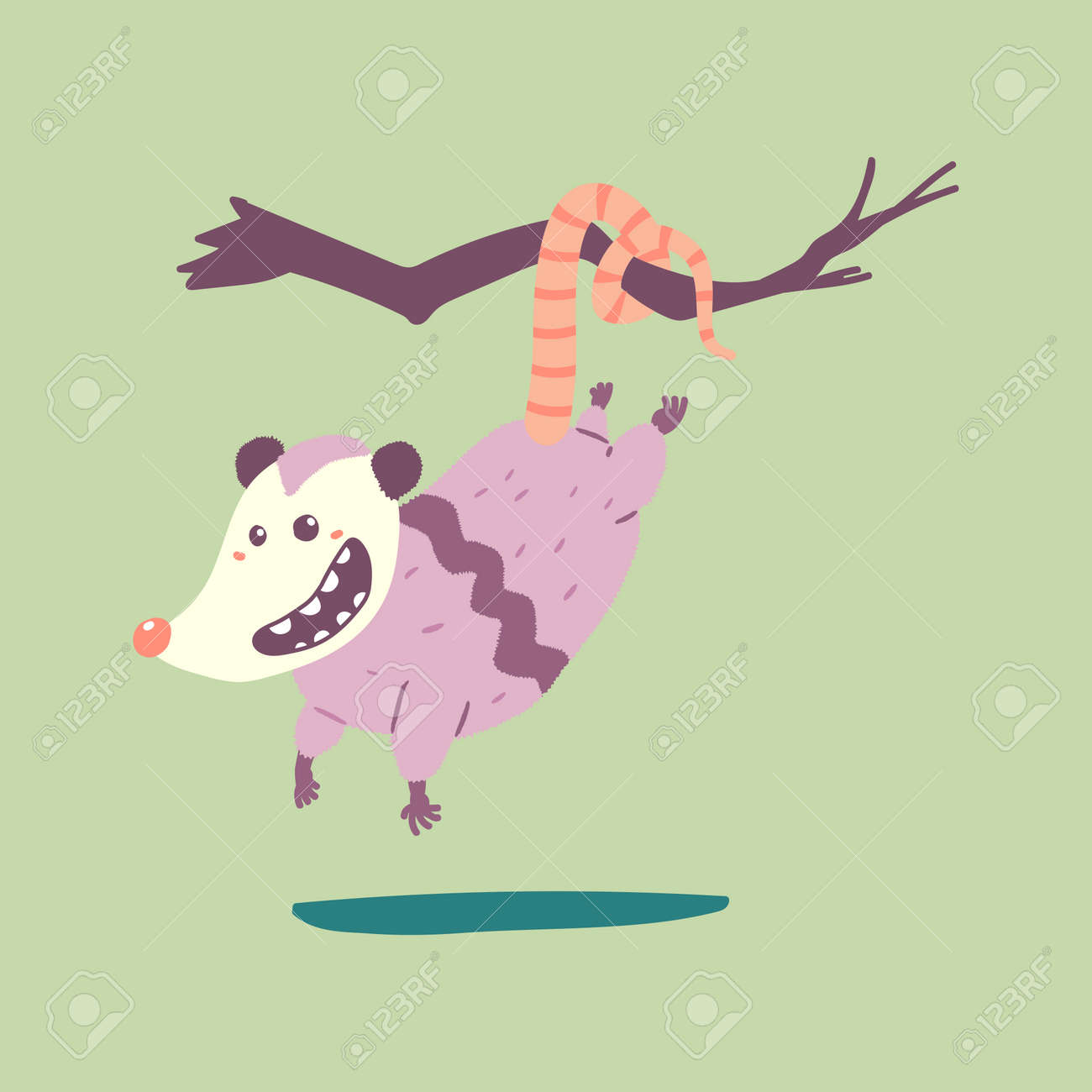 Cute possum hanging on a branch tree vector cartoon character isolated on background. - 170637588