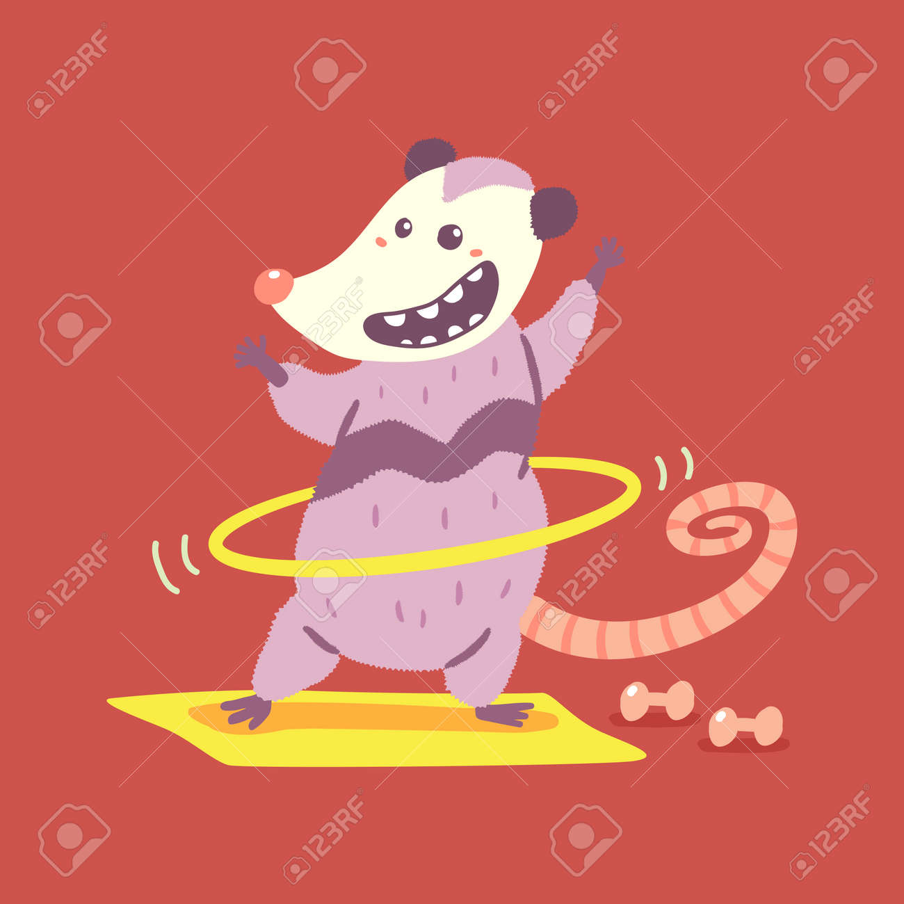 Cute possum doing exercises with hula hoop vector cartoon character isolated on background. - 170855145