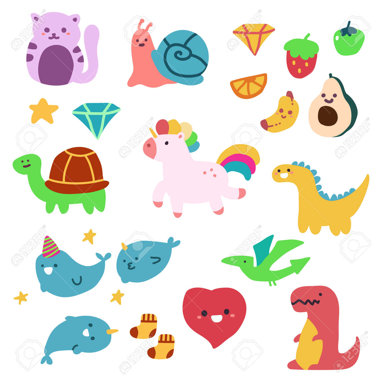 Cute children's drawings animal and fruit vector cartoon simple set isolated on white background. - 170638528