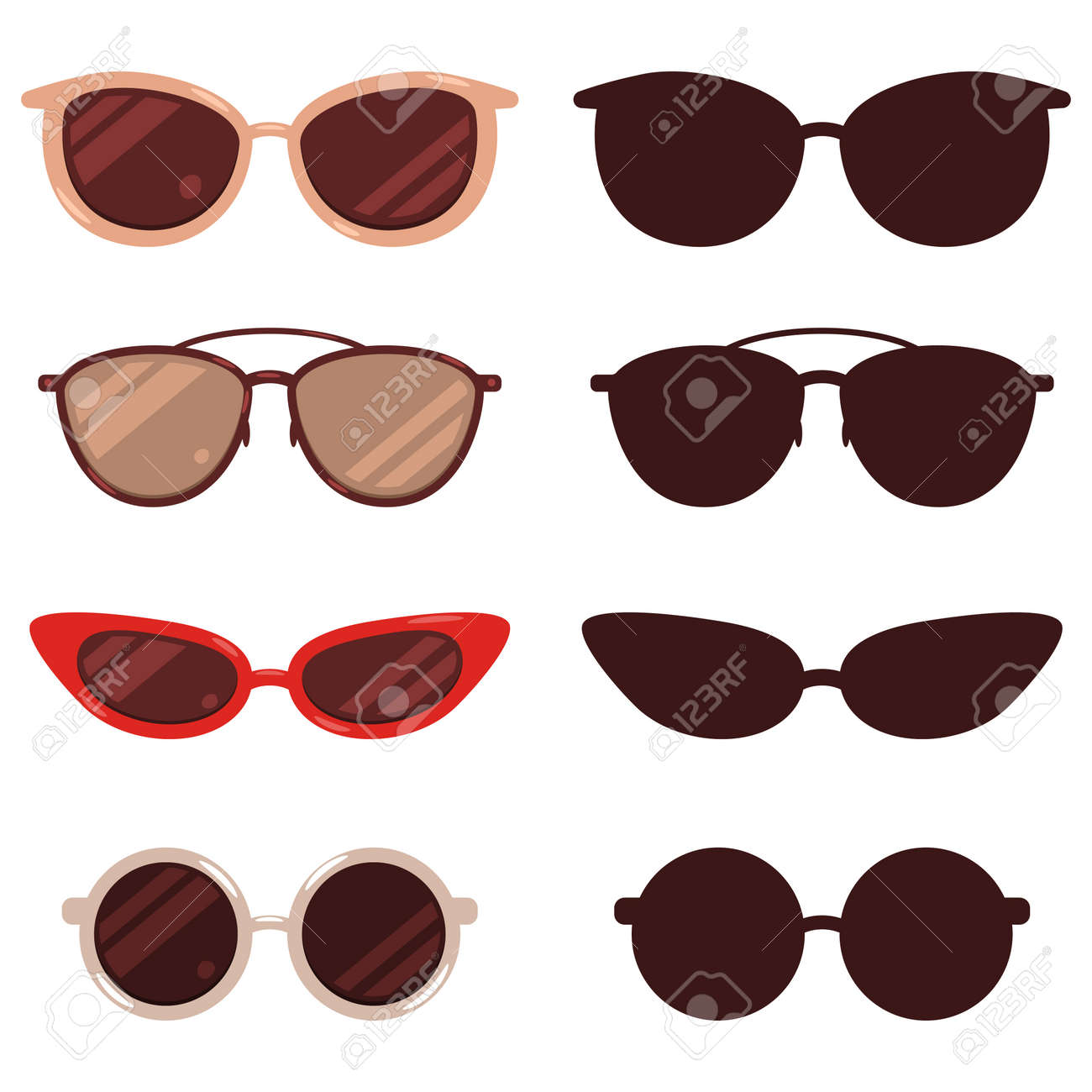 Sunglasses vector cartoon and silhouette set isolated on white background. - 170638500