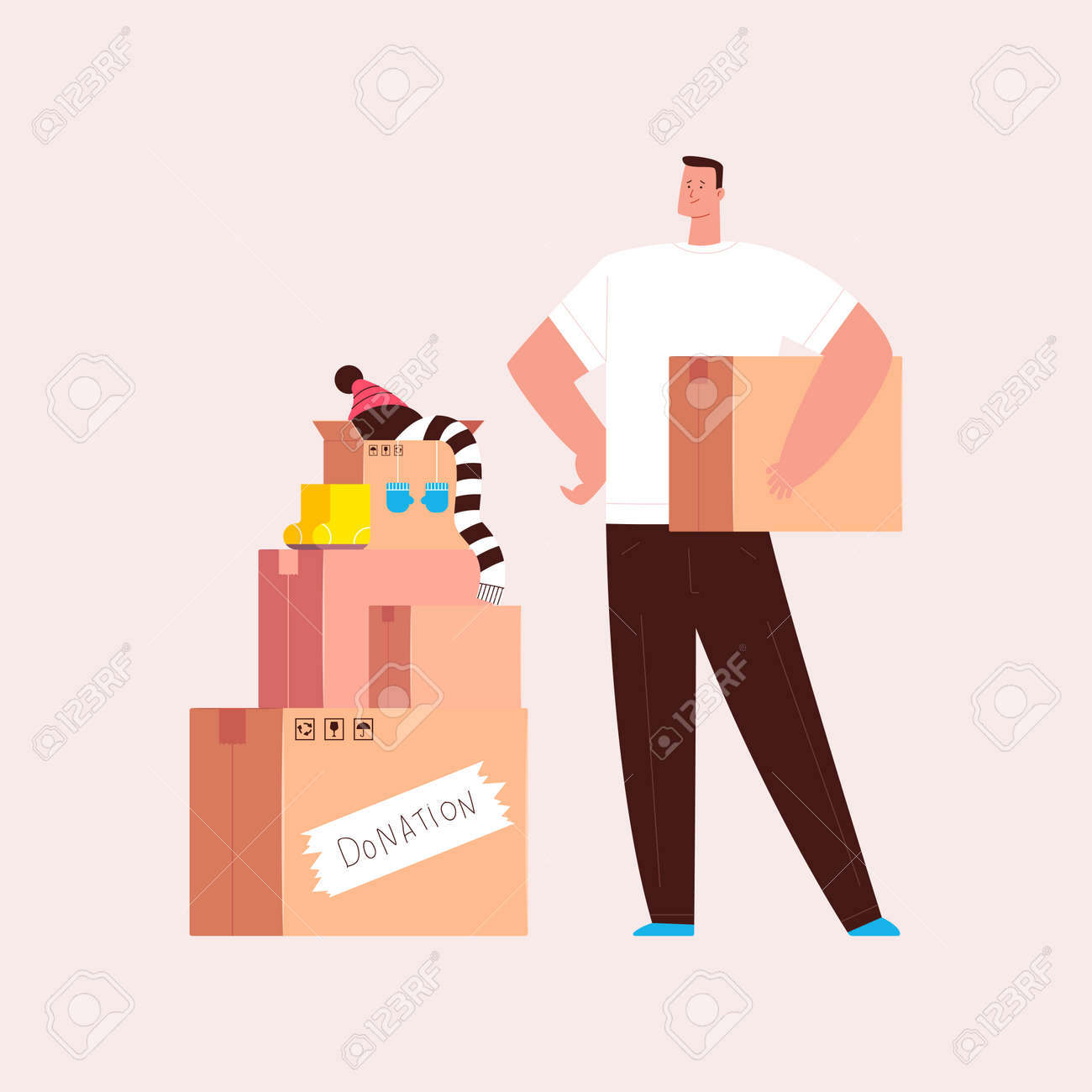 Donation and charity illustration. Man volunteer with box vector cartoon character isolated on background. - 170637889