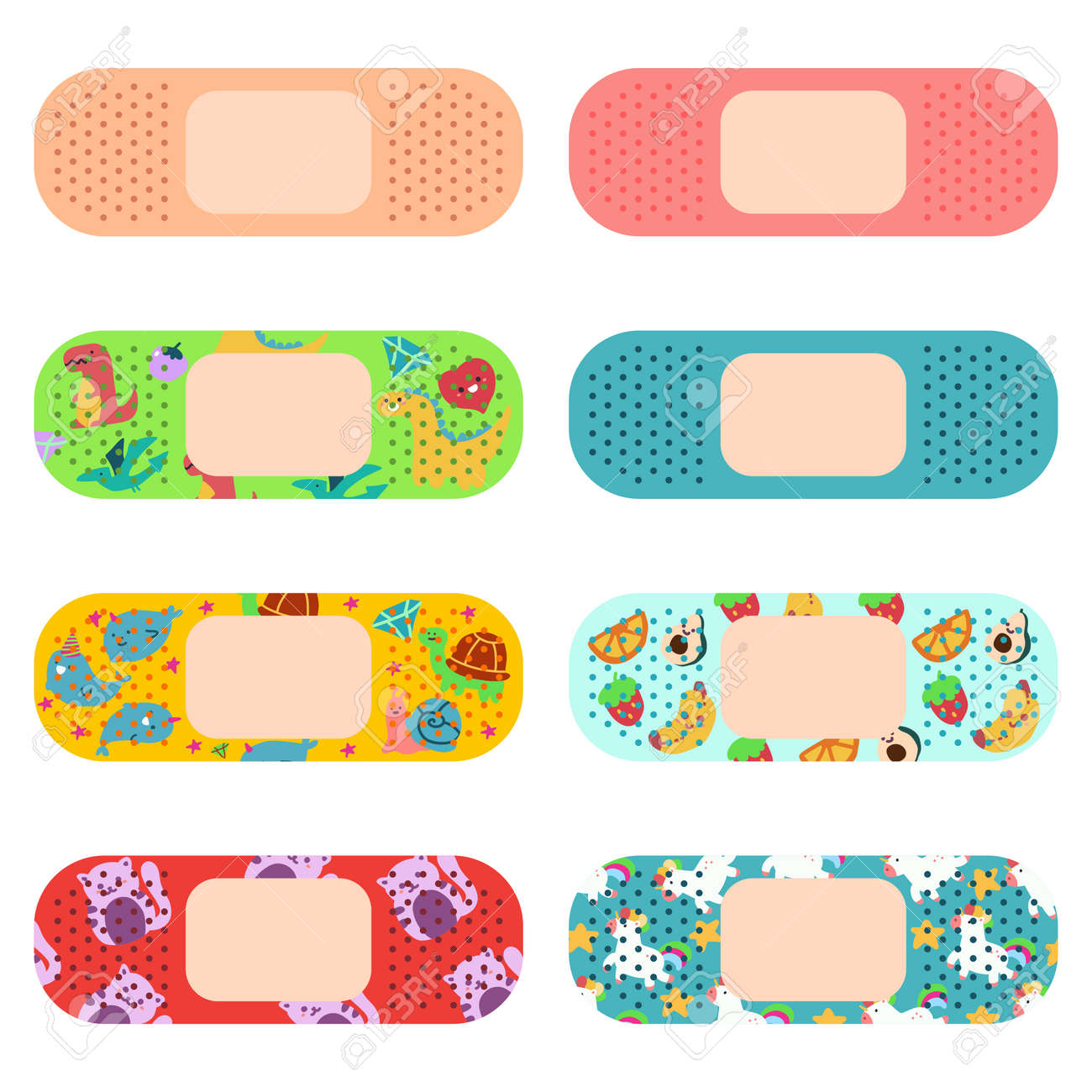 Medical adhesive plaster for adults and kids vector cartoon set isolated on a white background. - 170855146