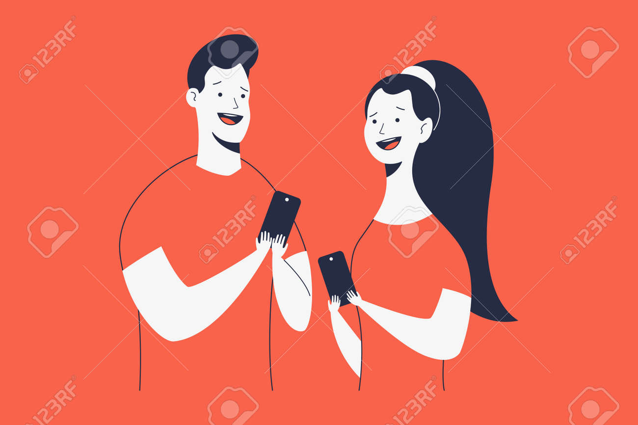 Excited and happy man and woman with phone vector cartoon characters isolated on background. - 170637779