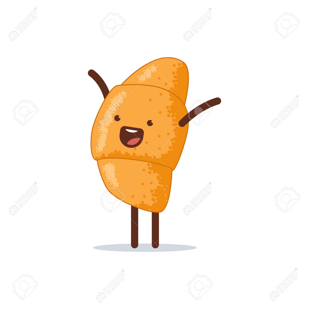 Cute and happy croissant vector cartoon character isolated on a white background. - 170643247