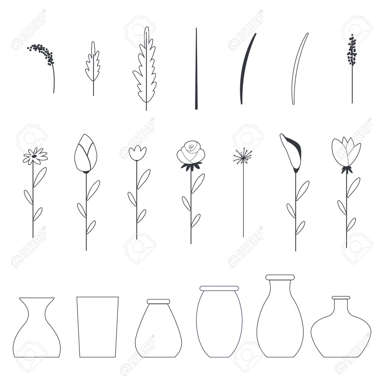 Flowers and vases vector outline icons set isolated on a white background. - 170643532
