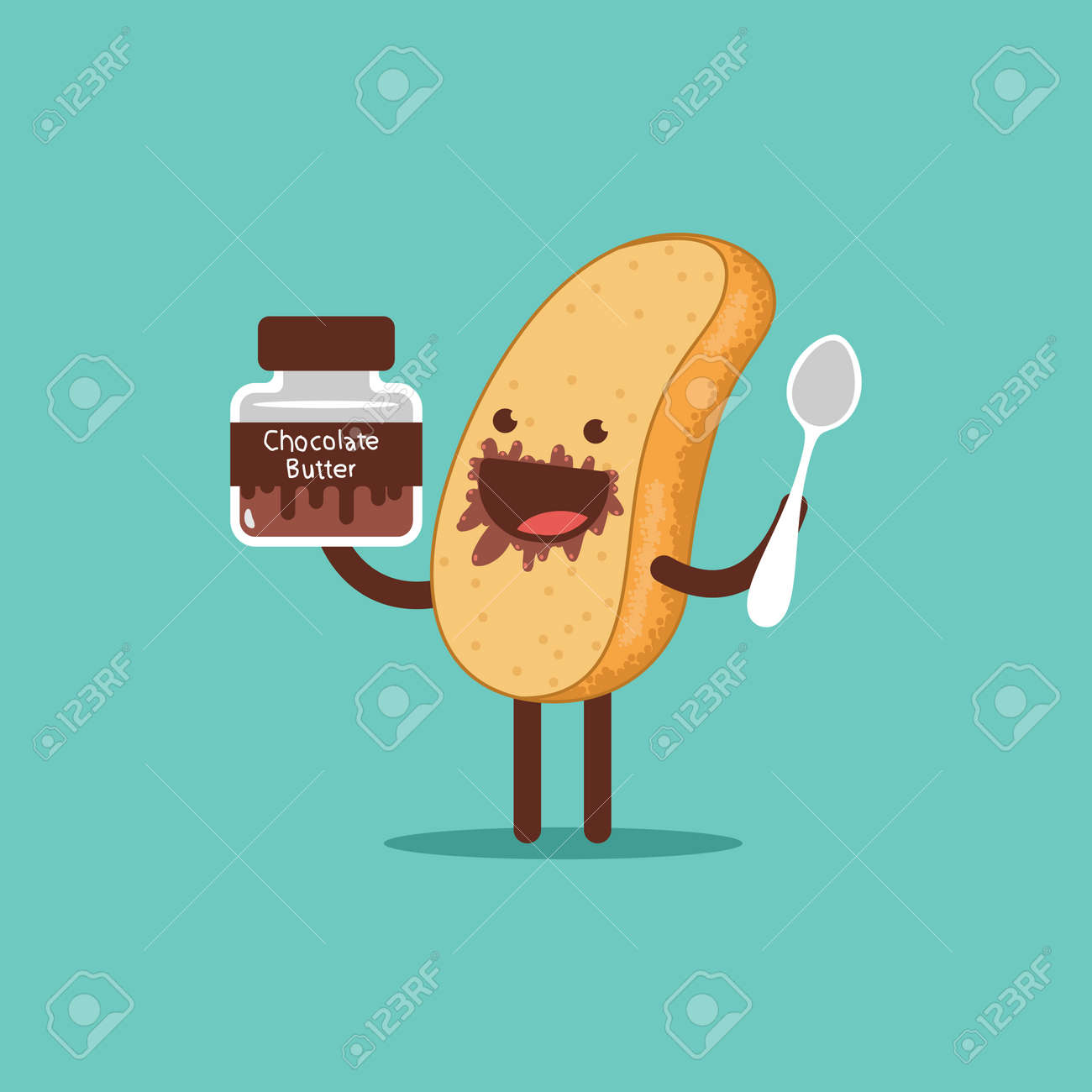Cute toast with chocolate butter and spoon. Funny bread vector cartoon character isolated on a white background. - 170643748