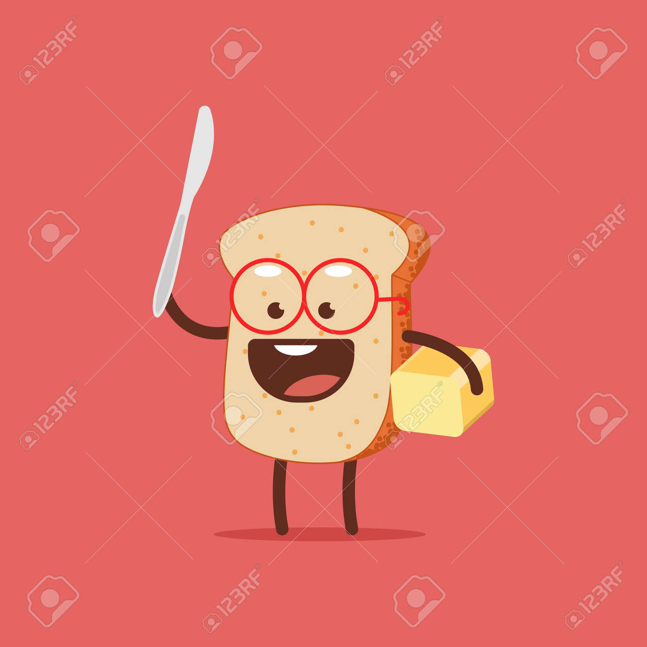 Cute toast with butter and knife. Funny bread vector cartoon character isolated on a white background. - 170643433