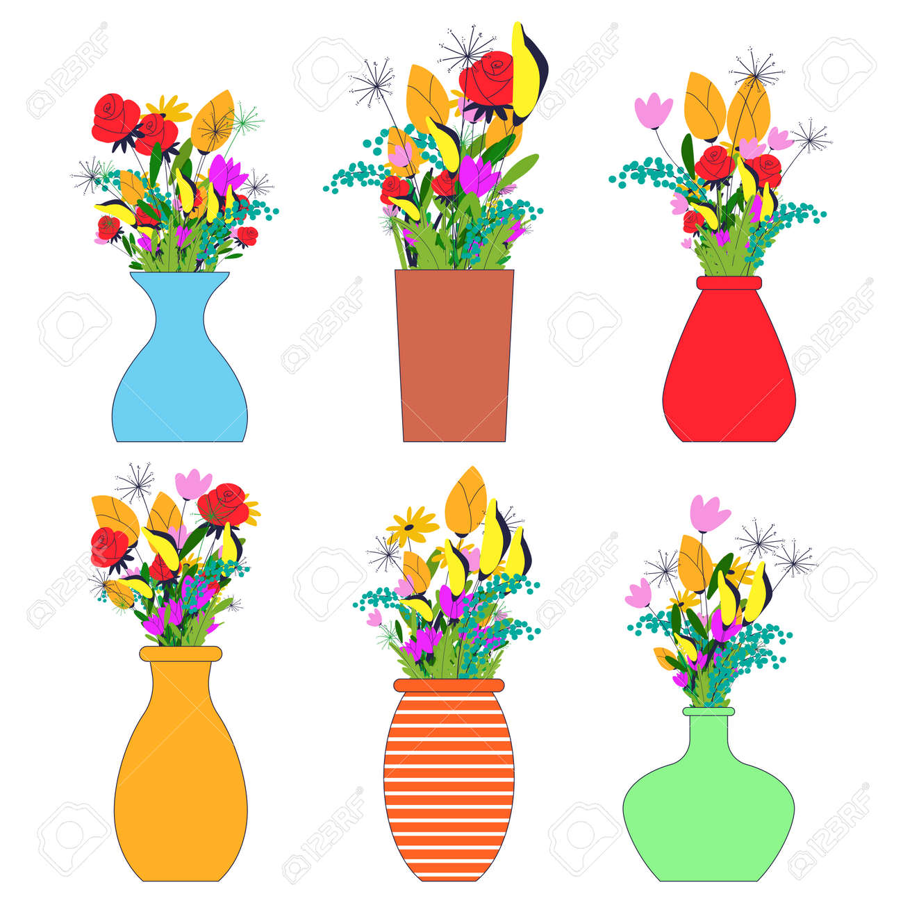 Flowers bouquets in vases vector flat set isolated on a white background. - 170643187