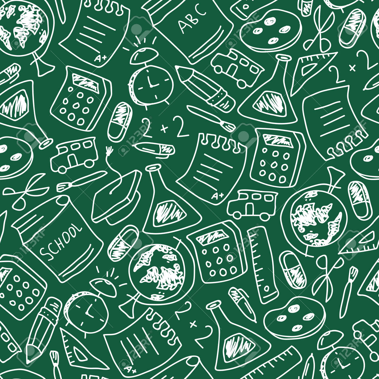School vector seamless pattern with doodle element on chalkboard. Background for wallpaper, wrapping, packing and backdrop. - 173241340