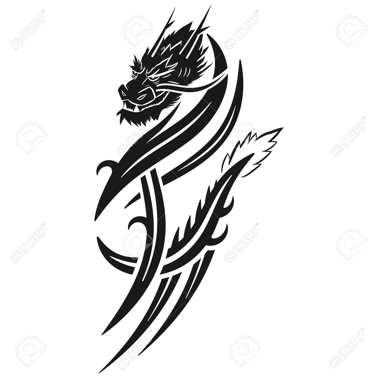 Dragon tribal tattoo vector illustration isolated on a white background. - 172747062