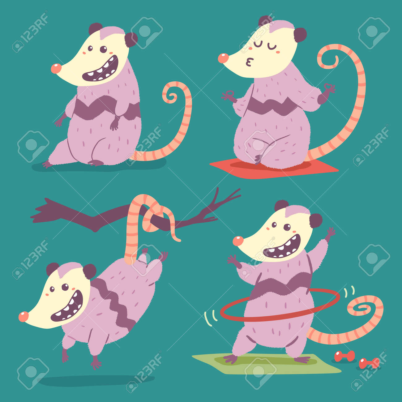 Possum vector cartoon character set isolated on background. - 173241341