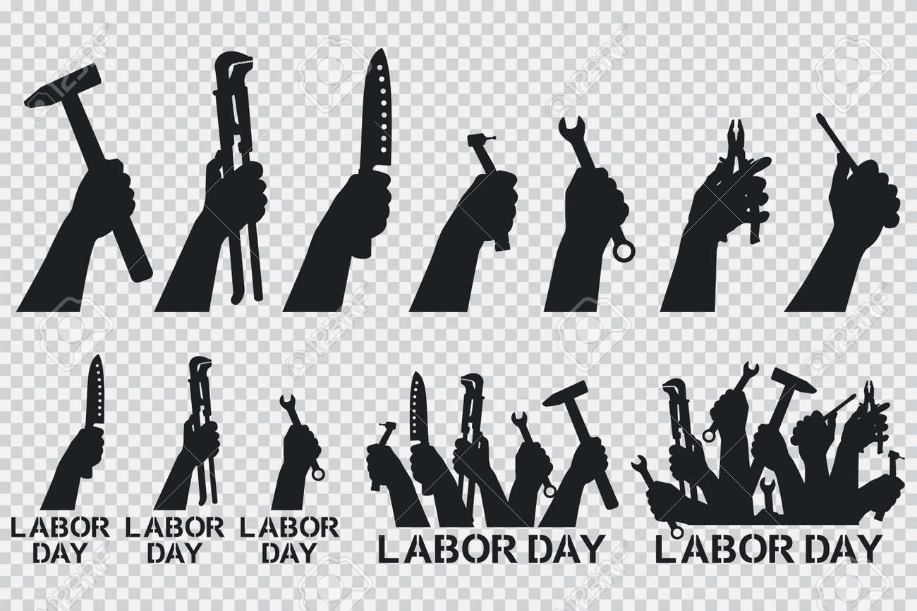 Labor day. Hand holding tools vector black silhouettes icons set isolated on a transparent background. - 172746760