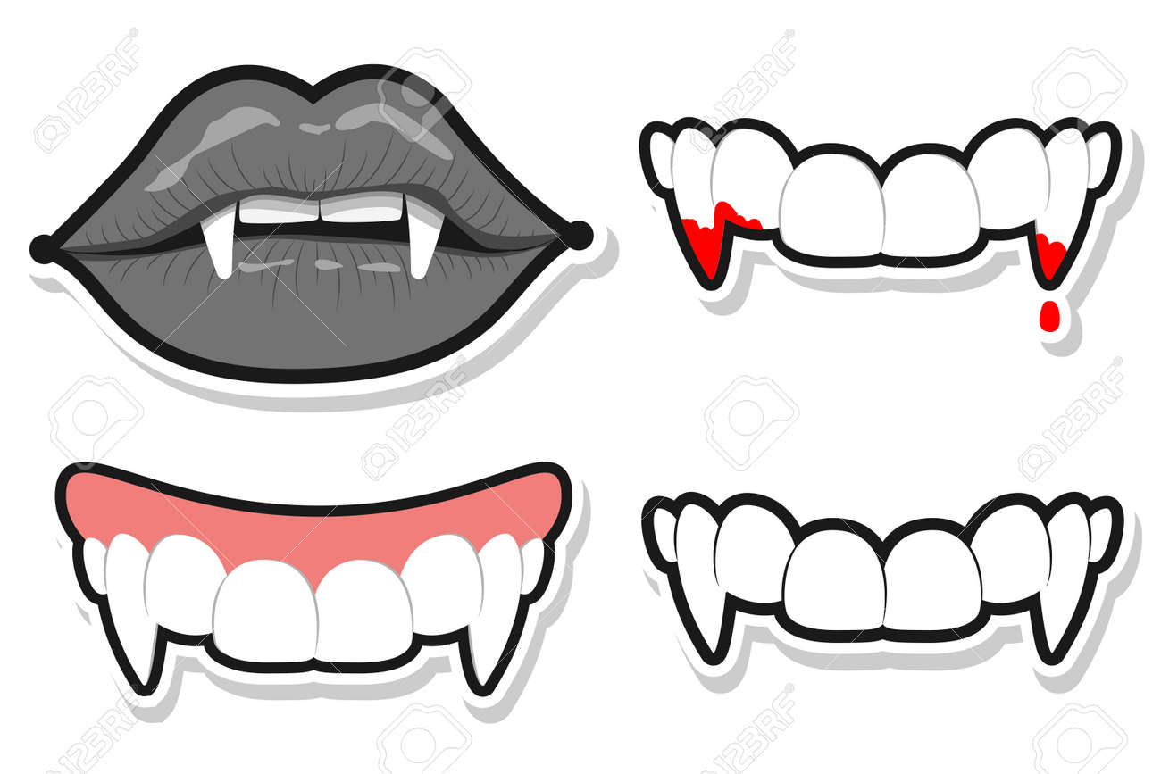 Vampire teeth and lips for Halloween. Vector cartoon set isolated on a white background. - 173241342