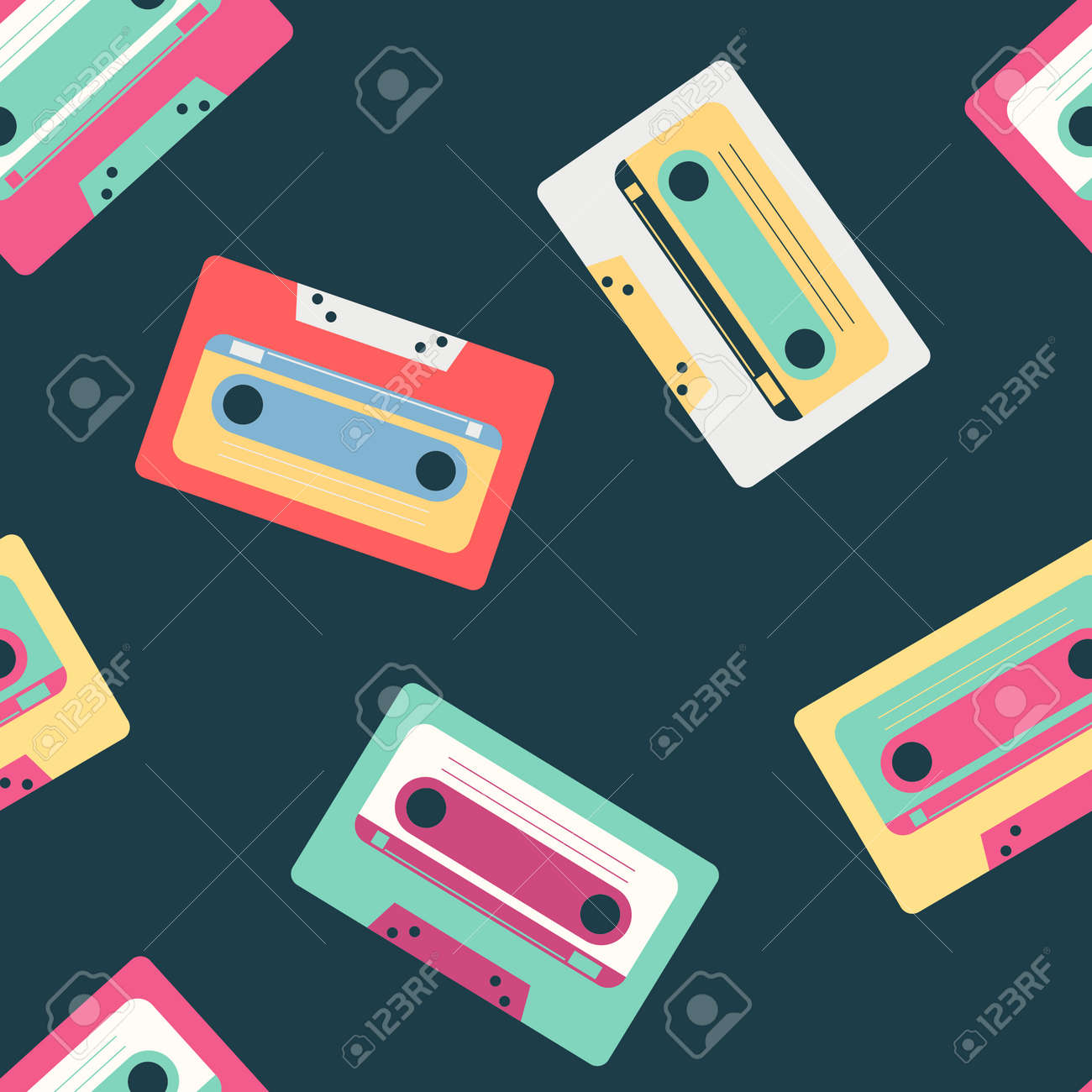Retro music cassette vector pattern on background for wallpaper, wrapping, packing, and backdrop. - 173241344