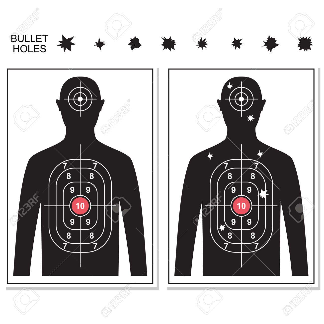 Shooting targets and bullet holes vector cartoon set isolated on white background. - 172747840