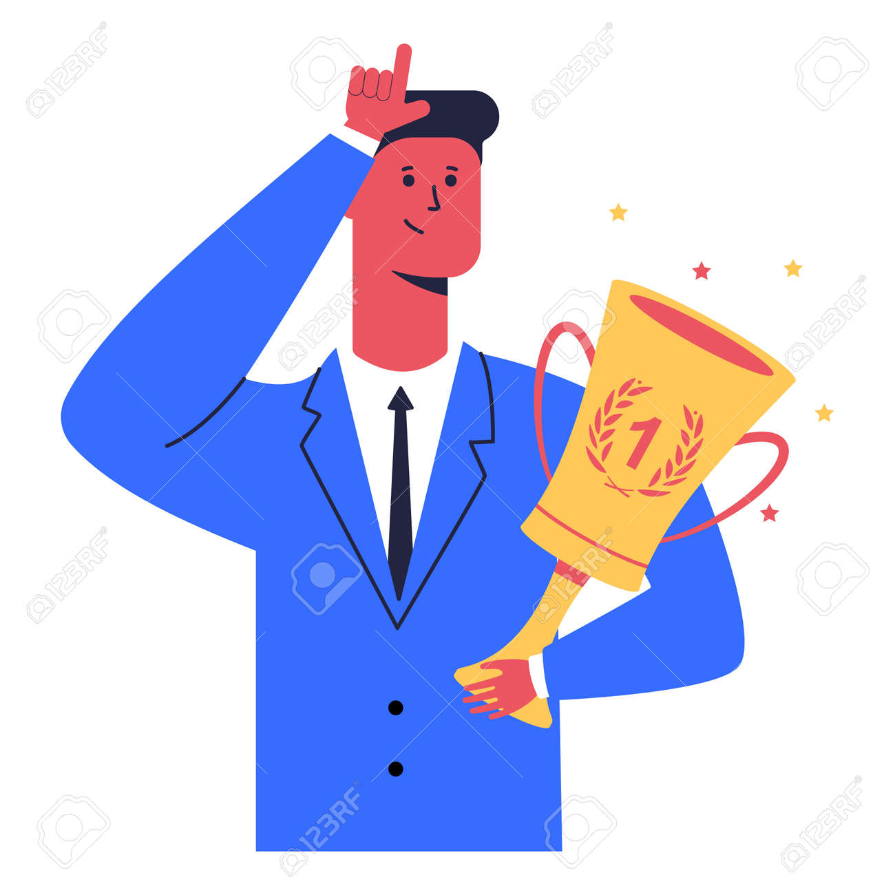 Businessman with winner cup shows loser sign. Vector cartoon character isolated on a white background. - 172747959
