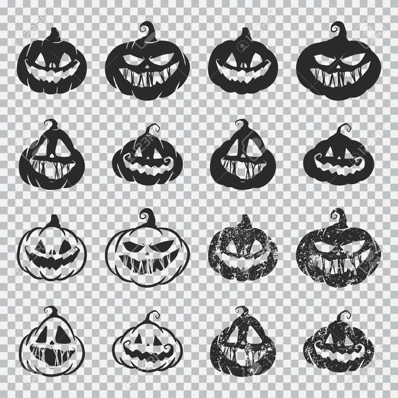 Halloween pumpkin faces vector black silhouette set isolated on a transparent background. - 172748288