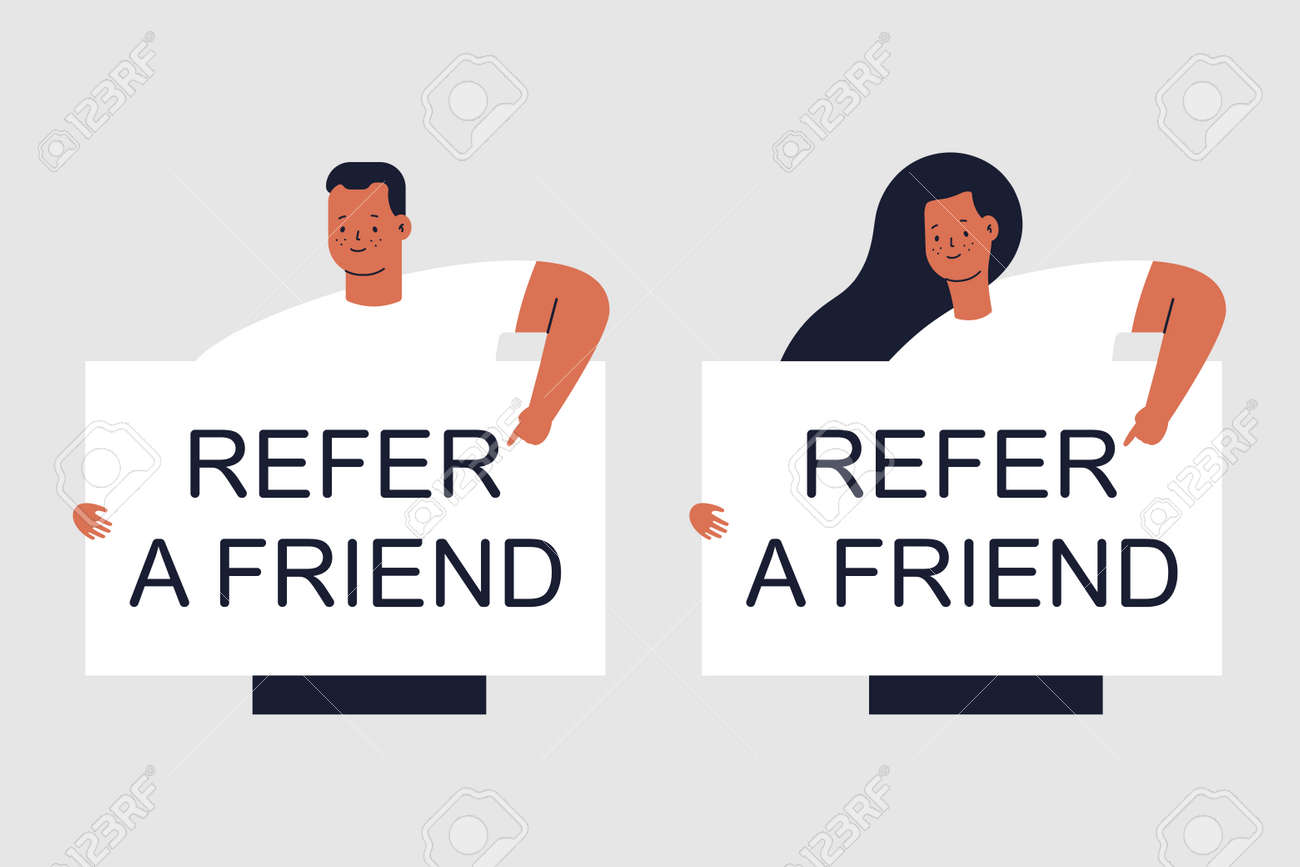 Refer a friend vector concept illustration with man and woman characters isolated on background. - 172748365