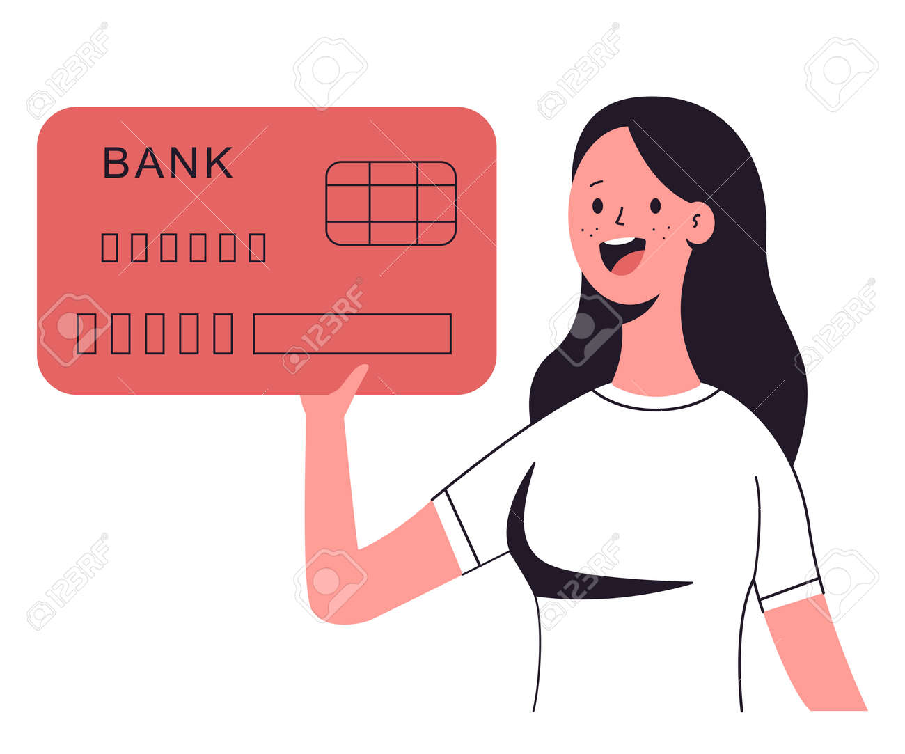 Woman holding credit card vector cartoon character isolated on a white background. - 172748087