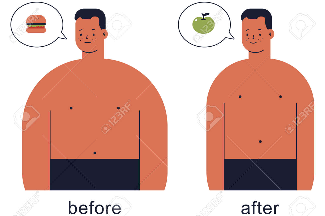 Cute man before and after lose weight vector cartoon illustration isolated on a white background. - 172748126