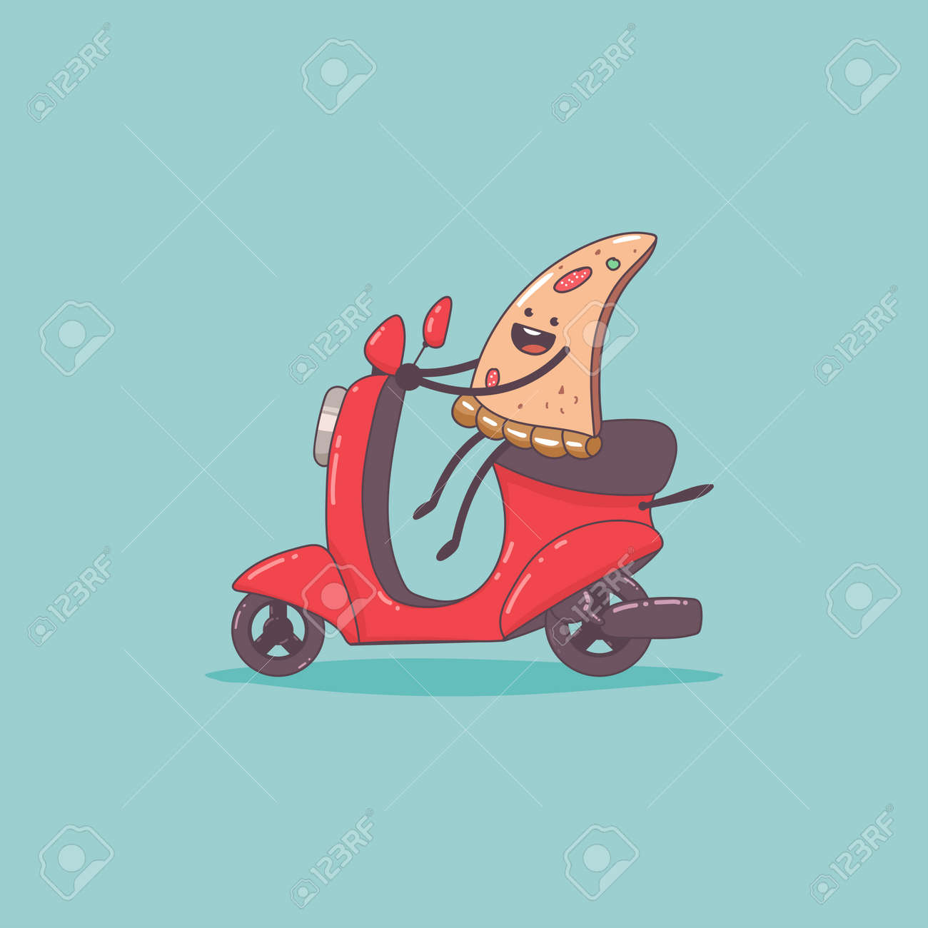 Pizza delivery. Cute food courier character on the moped. Vector cartoon cute illustration isolated on background. - 172749450