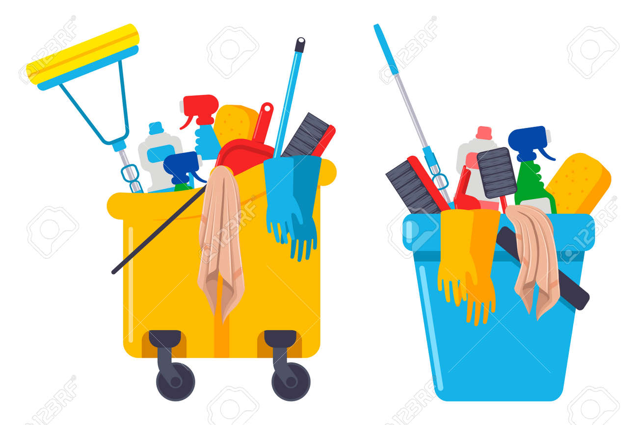 Cleaning supplies and equipments in bucket vector cartoon set isolated on a white background. - 172748986