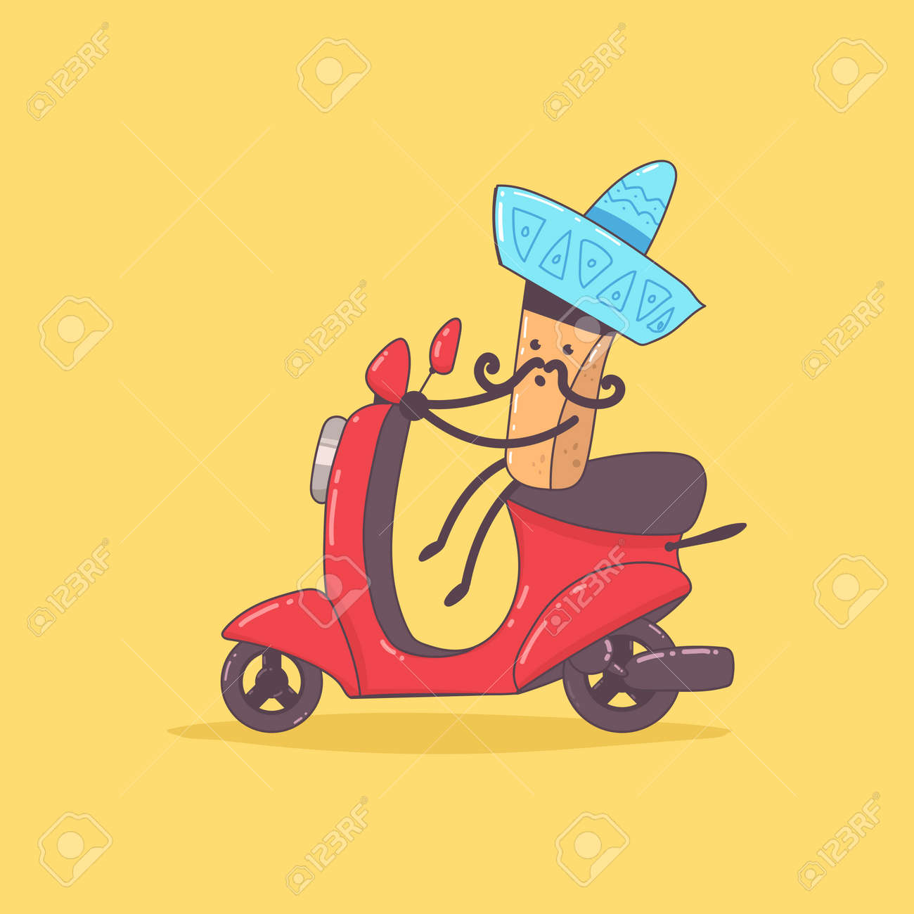 Mexican food delivery. Cute courier character on the moped. Vector cartoon illustration isolated on background. - 172749284