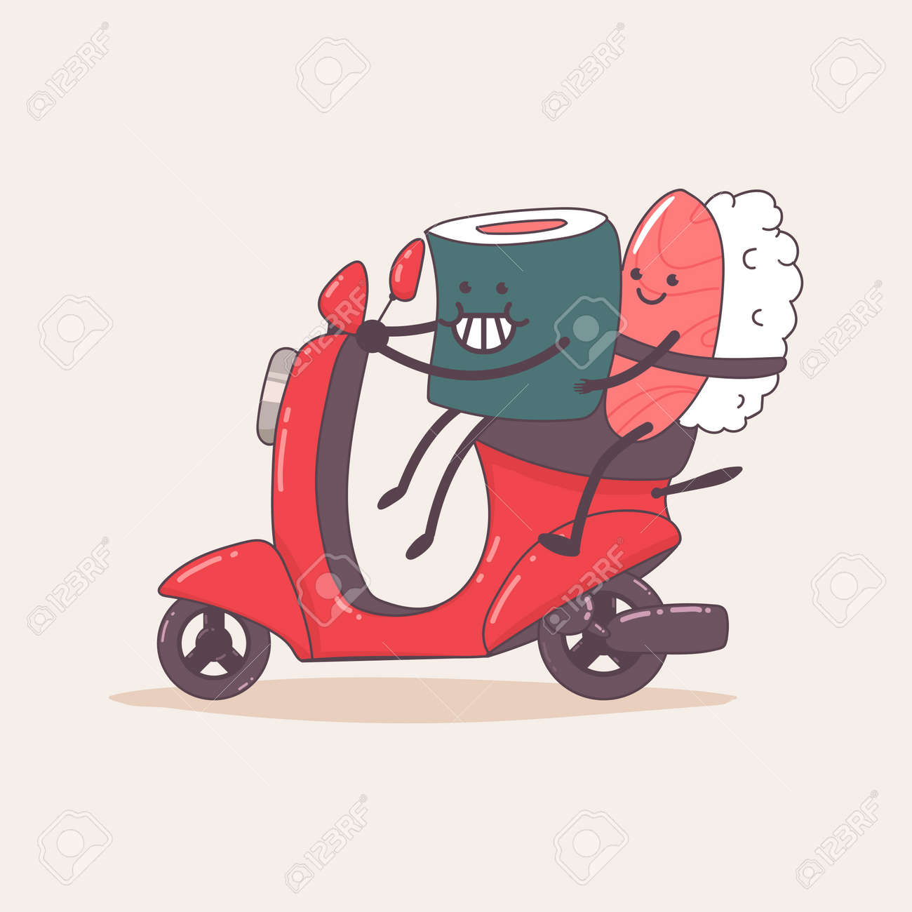 Sushi delivery. Cute food courier character on the moped. Vector cartoon illustration isolated on background. - 172749455