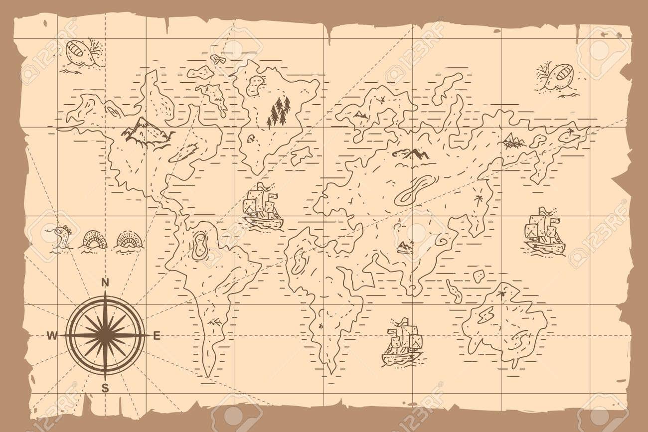 Vintage world map vector cartoon hand drawn illustration. - 173241345