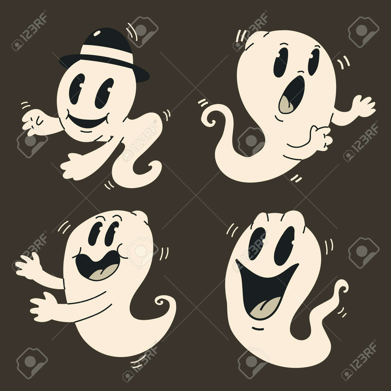 Cute cartoon ghosts vector set. Halloween funny vintage character monster isolated on background. - 173241346