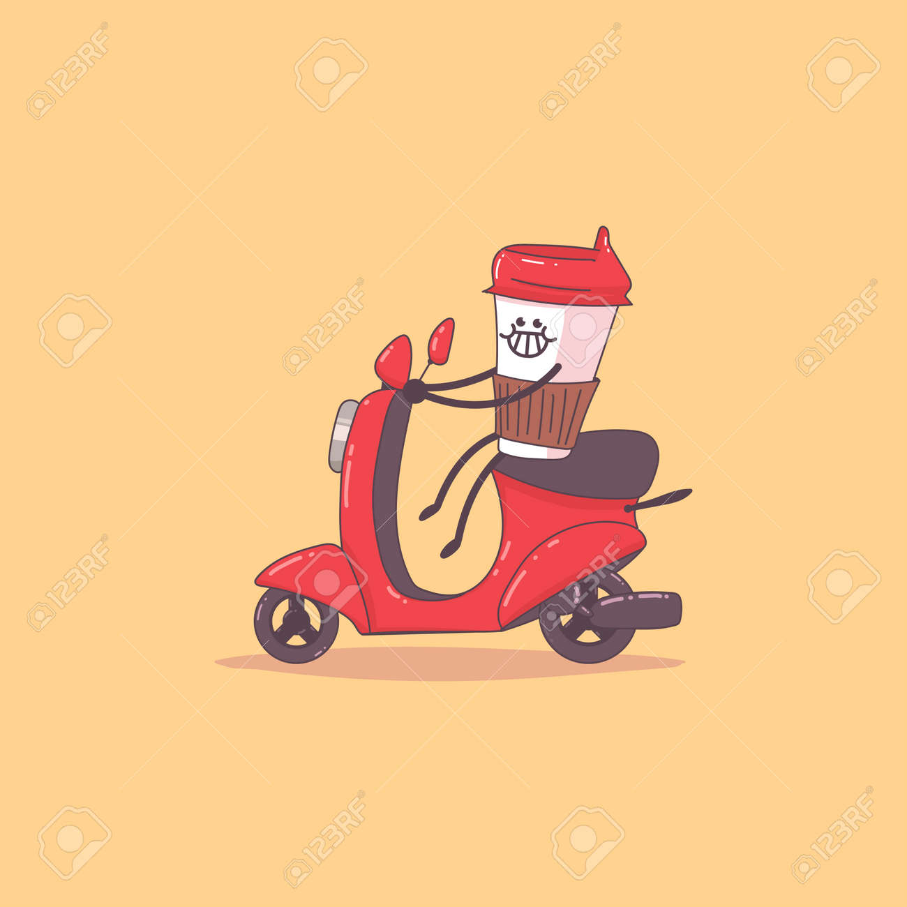 Coffee delivery. Cute courier character on the moped. Vector cartoon illustration isolated on background. - 172749698