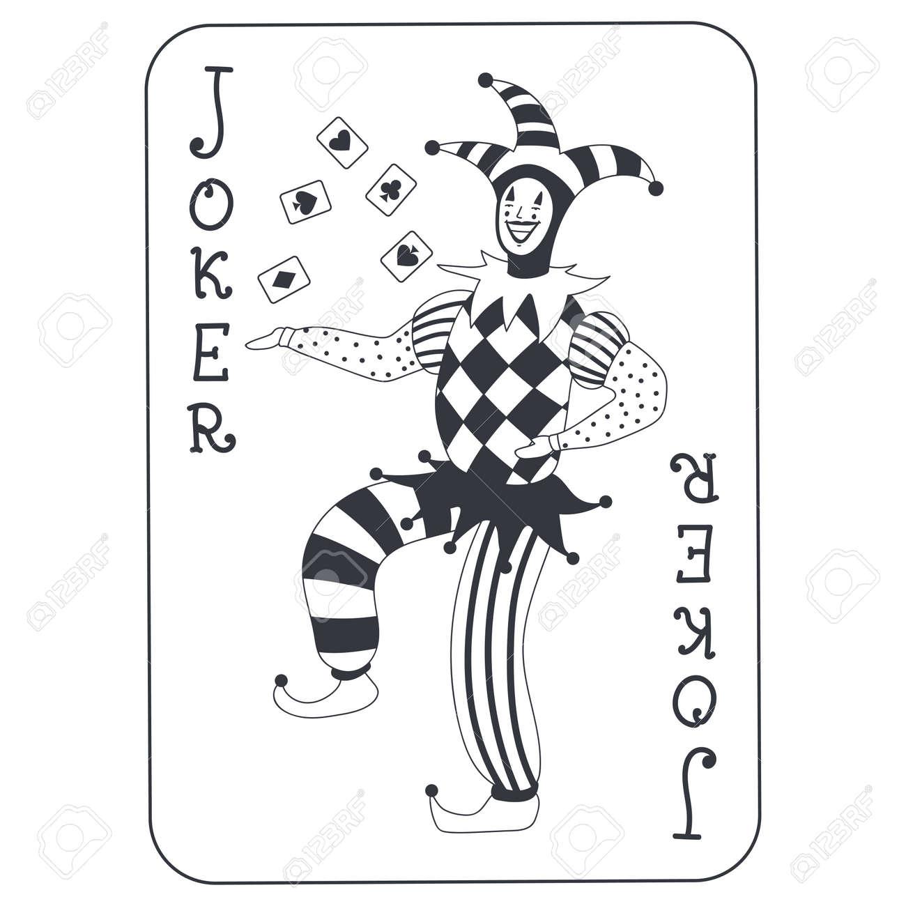 Joker poker card vector cartoon illustration isolated on white background. - 173241347