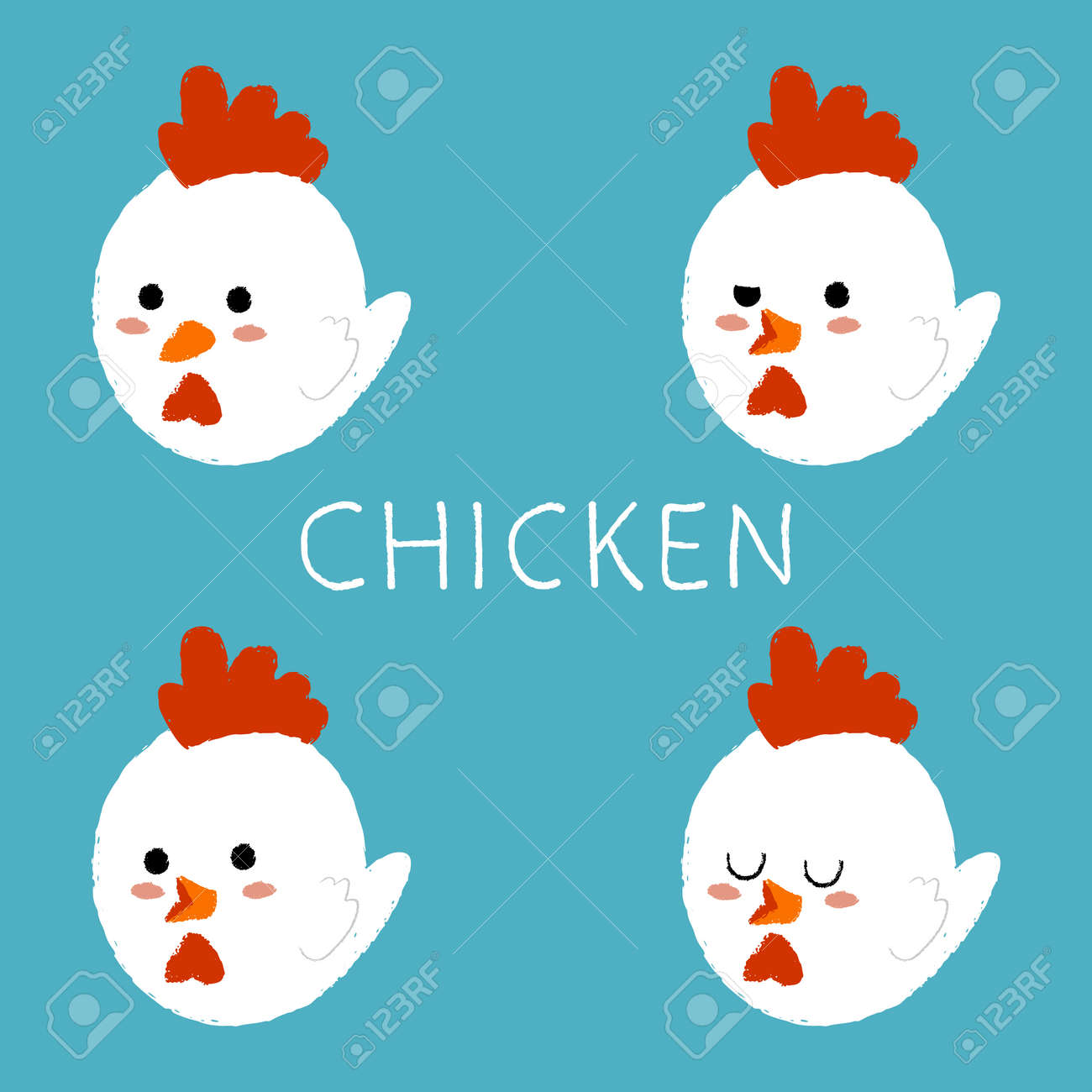 Cute chicken with different emotions vector cartoon set isolated on background. - 173241348
